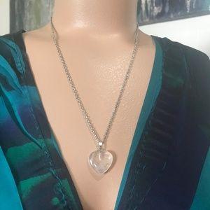 Clear Quartz Heart Pendant Necklace